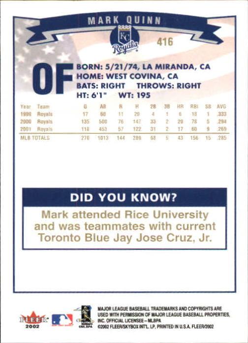 2002-Fleer-Oro-Espaldas-Beisbol-Tarjeta-Recoger miniatura 275
