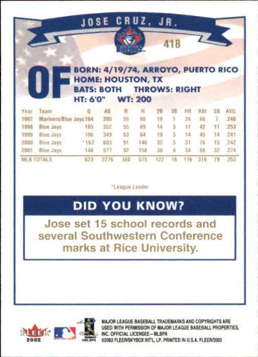2002-Fleer-Oro-Espaldas-Beisbol-Tarjeta-Recoger miniatura 277