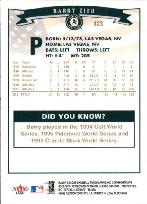 2002-Fleer-Oro-Espaldas-Beisbol-Tarjeta-Recoger miniatura 279