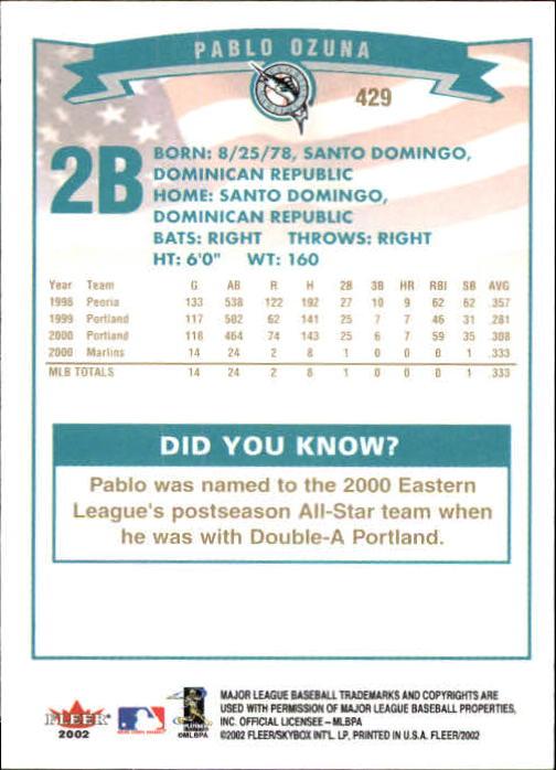 2002-Fleer-Oro-Espaldas-Beisbol-Tarjeta-Recoger miniatura 287