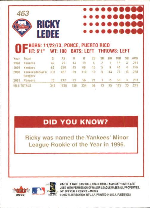 2002-Fleer-Oro-Espaldas-Beisbol-Tarjeta-Recoger miniatura 297