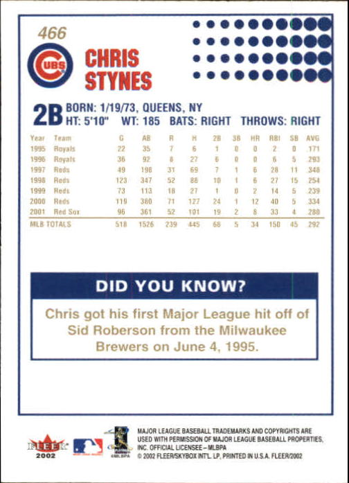 2002-Fleer-Oro-Espaldas-Beisbol-Tarjeta-Recoger miniatura 299