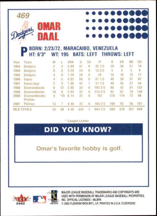 2002-Fleer-Oro-Espaldas-Beisbol-Tarjeta-Recoger miniatura 301