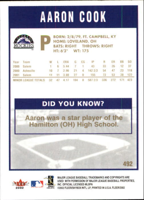 2002-Fleer-Oro-Espaldas-Beisbol-Tarjeta-Recoger miniatura 307