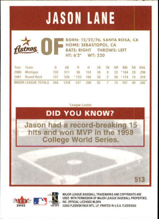 2002-Fleer-Oro-Espaldas-Beisbol-Tarjeta-Recoger miniatura 313