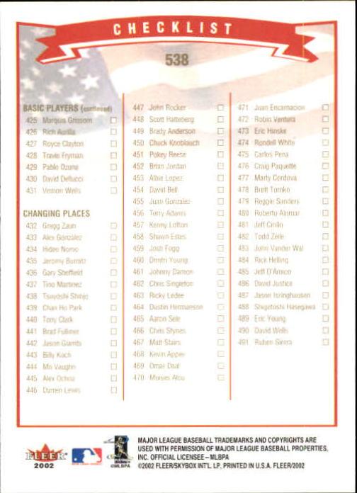2002-Fleer-Oro-Espaldas-Beisbol-Tarjeta-Recoger miniatura 317