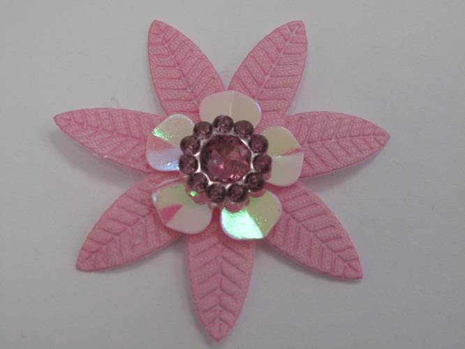 5pc-Pack-Fabric-Flower-Leaf-with-Gem-Centre-43mm-Embellishments-for-Arts-amp-Craft
