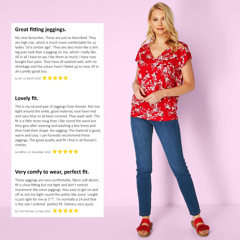 thumbnail 22 - Roman Originals Donna Jeans Jegging IN Nero Taglie 10 - 22