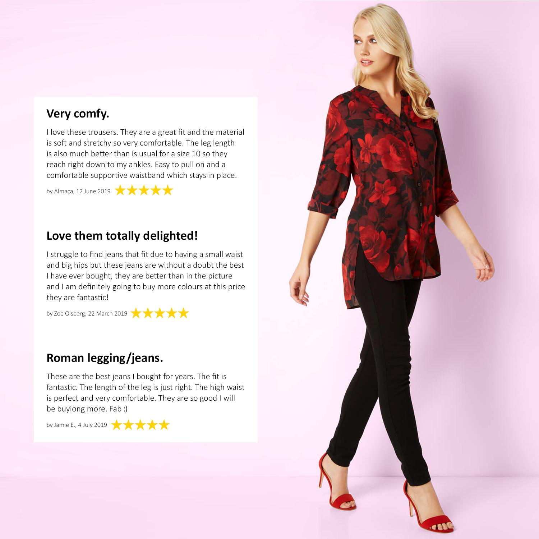 thumbnail 30 - Roman Originals Donna Jeans Jegging IN Nero Taglie 10 - 22