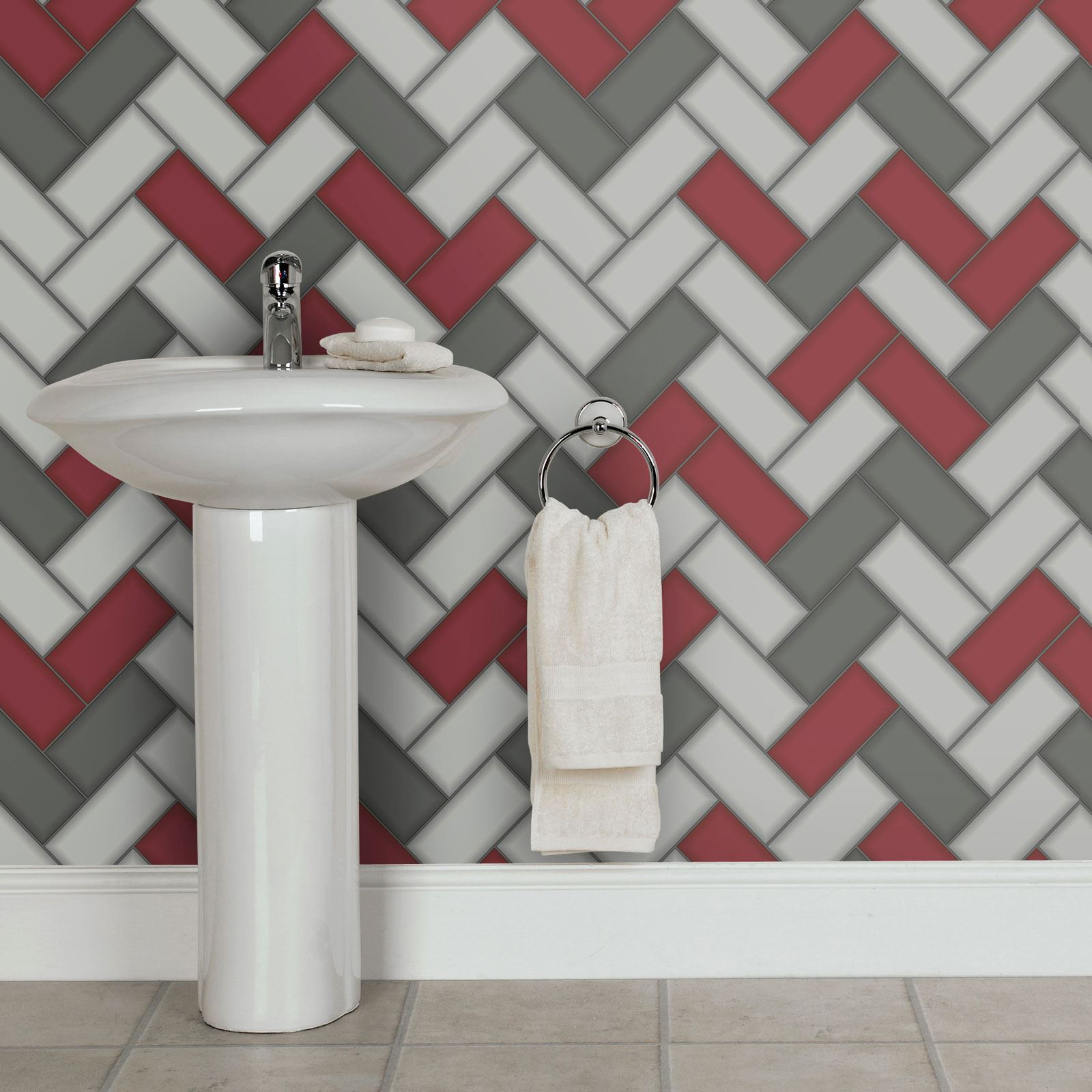 Textured Wallpaper For Bathrooms 2017: HOLDEN TILING ON A ROLL TILE GLITTER TEXTURED WALLPAPER