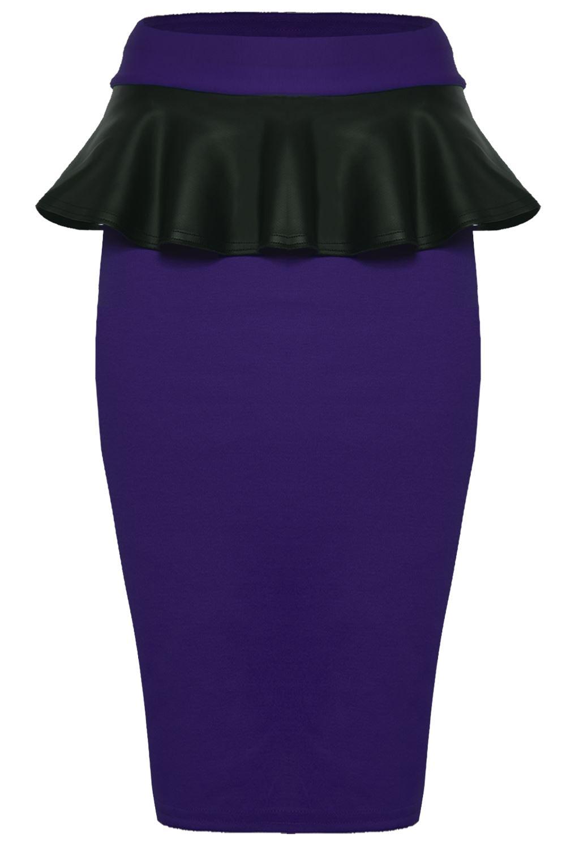 womens pvc midi skirt stretchy high waisted pu