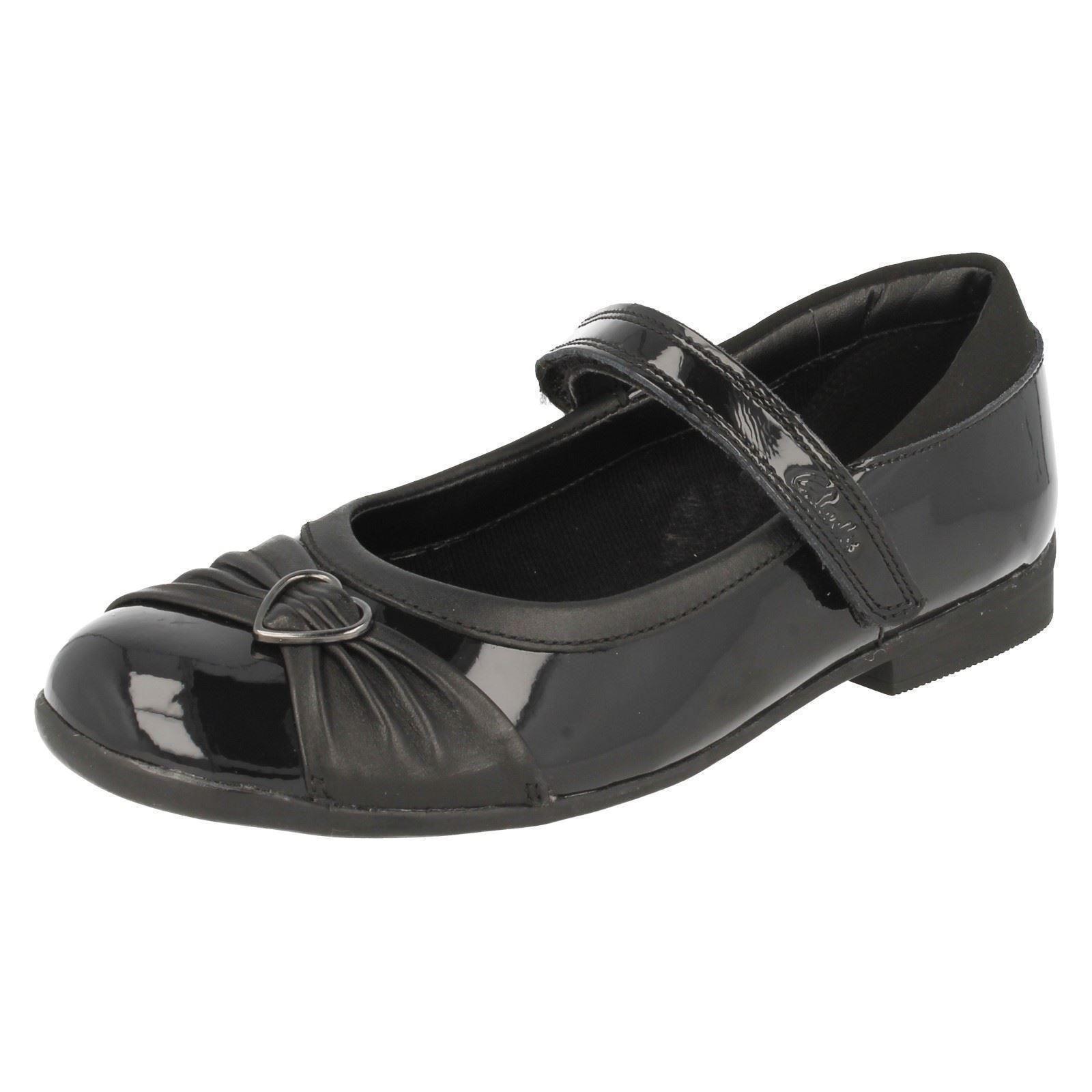 Filles Clarks Dolly Chérie Cuir Noir Ou Verni Chaussures D'école PkLSQxP8Q