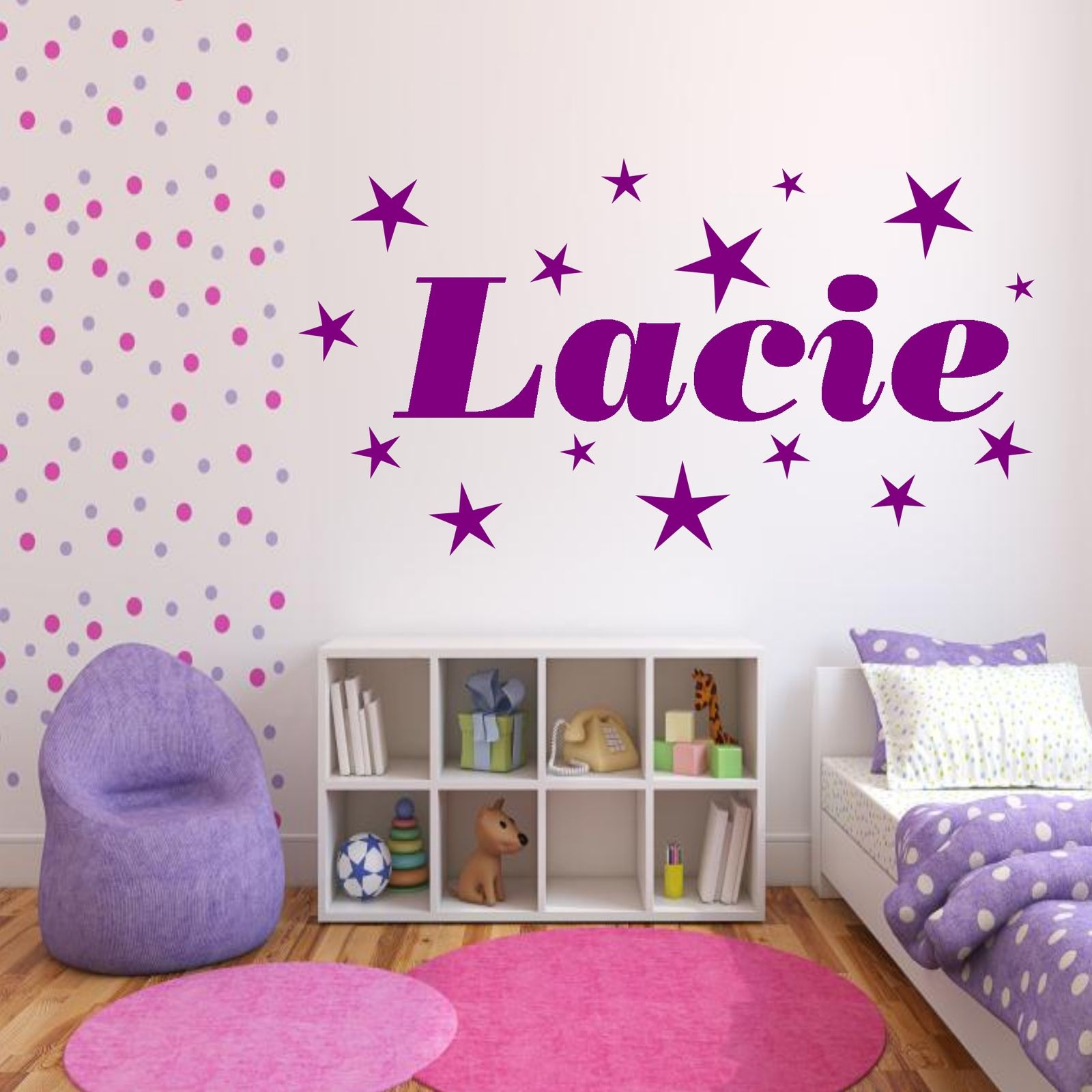 Personalised stars name girls bedroom wall art stickers Wall stickers for bedrooms