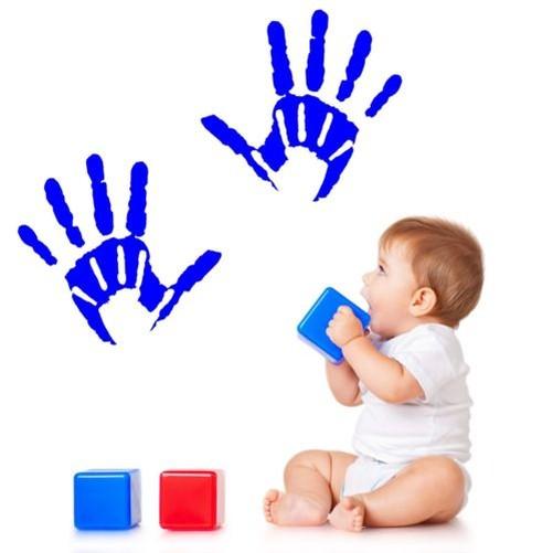 Nurserie-Salle-de-Jeux-Autocollant-Art-Mur-Main-Imprimes-pour-Enfants-Chambre