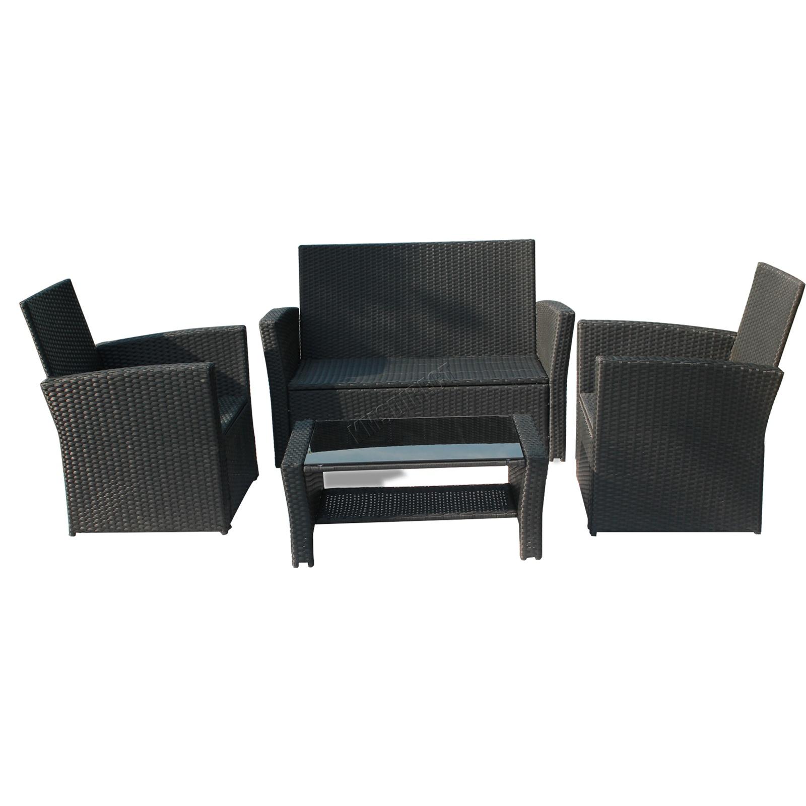 BIRCHTREE Rattan Garden Furniture Set Armchair Sofa Glass ...