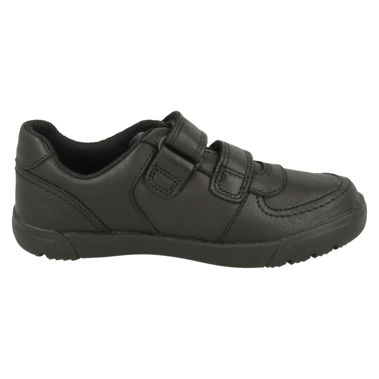 Childrens Clarks /'Orbit Ride/' Black Leather Casual Hook /& Loop Strap Trainers