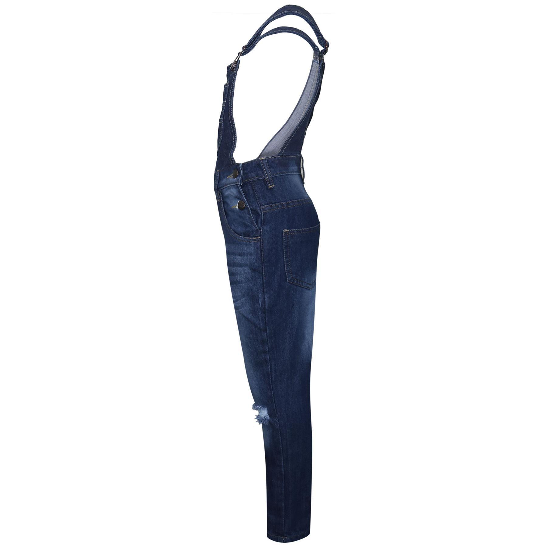 Indexbild 5 - Kinder Mädchen Denim Latzhose Knie Zerrissen Dunkelblau Jeans Overall Mode