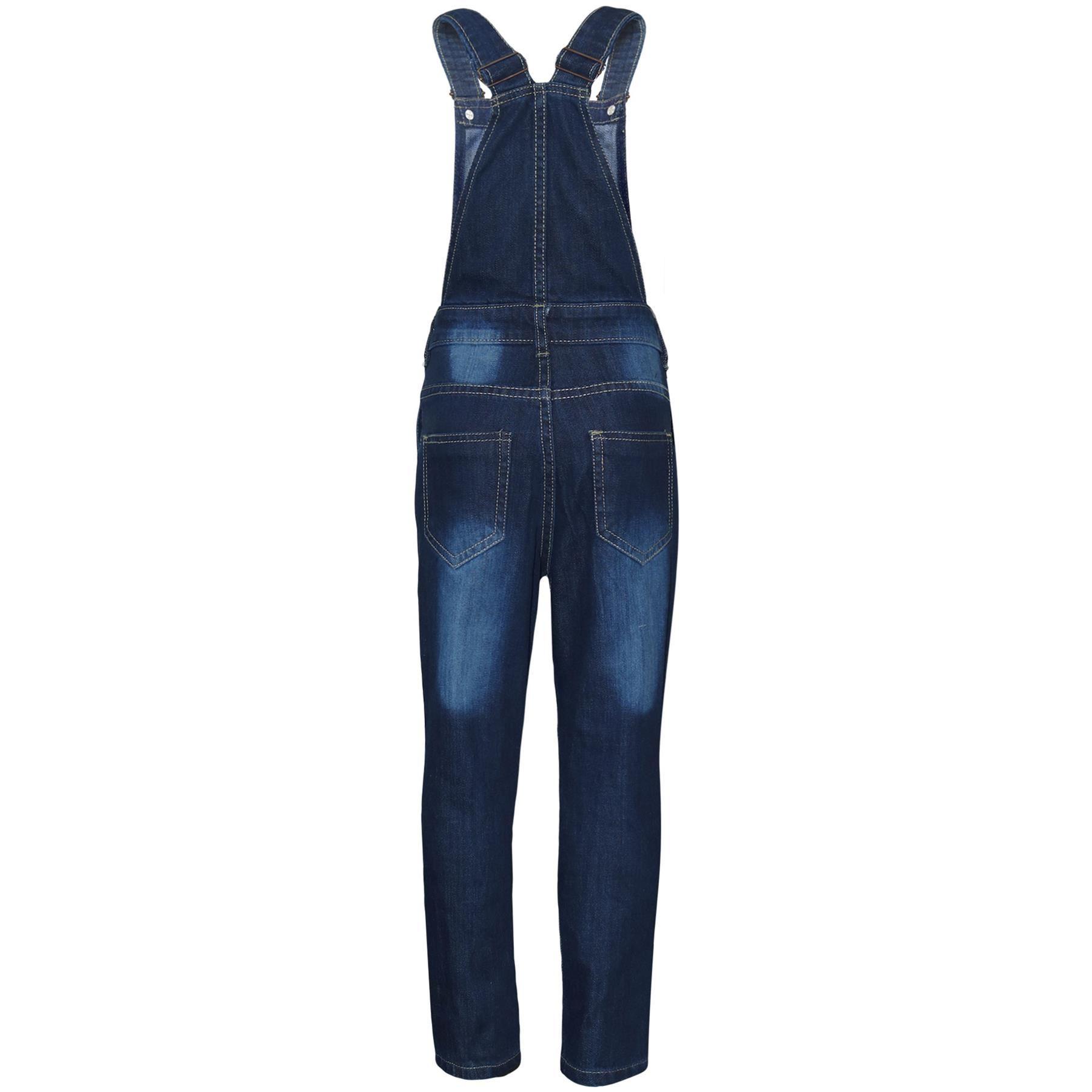 Indexbild 3 - Kinder Mädchen Denim Latzhose Knie Zerrissen Dunkelblau Jeans Overall Mode