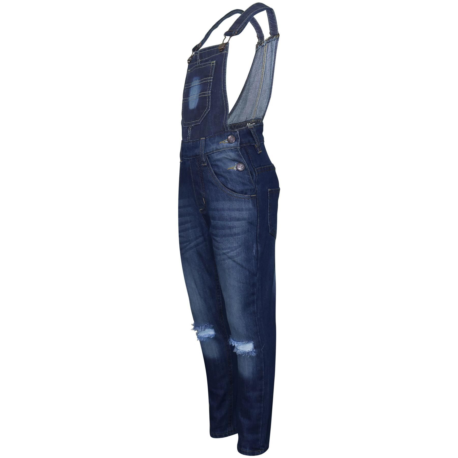 Indexbild 4 - Kinder Mädchen Denim Latzhose Knie Zerrissen Dunkelblau Jeans Overall Mode