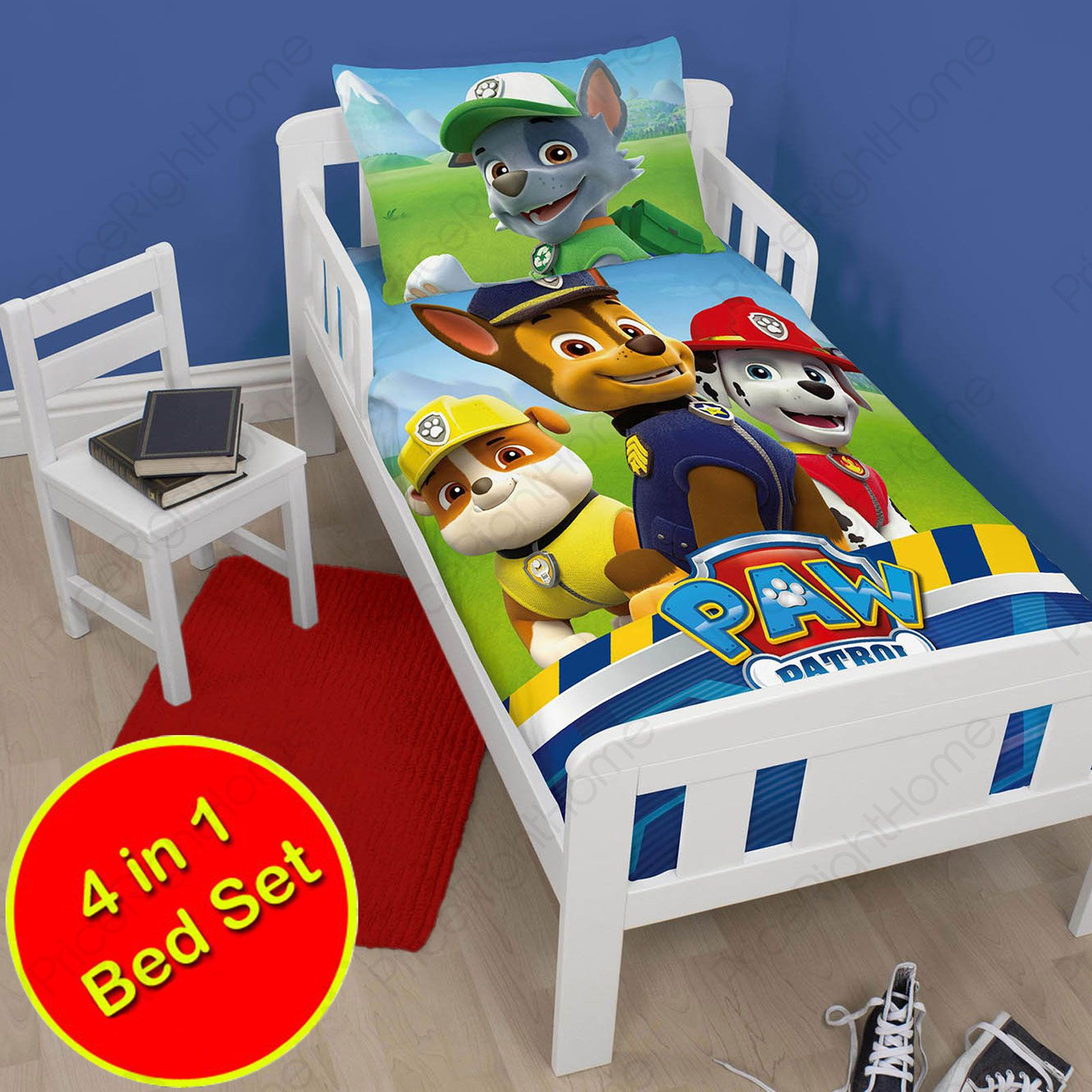 junior 4 in 1 bettw sche b ndel bettdecke kissen abdeckungen paw patrol ebay. Black Bedroom Furniture Sets. Home Design Ideas