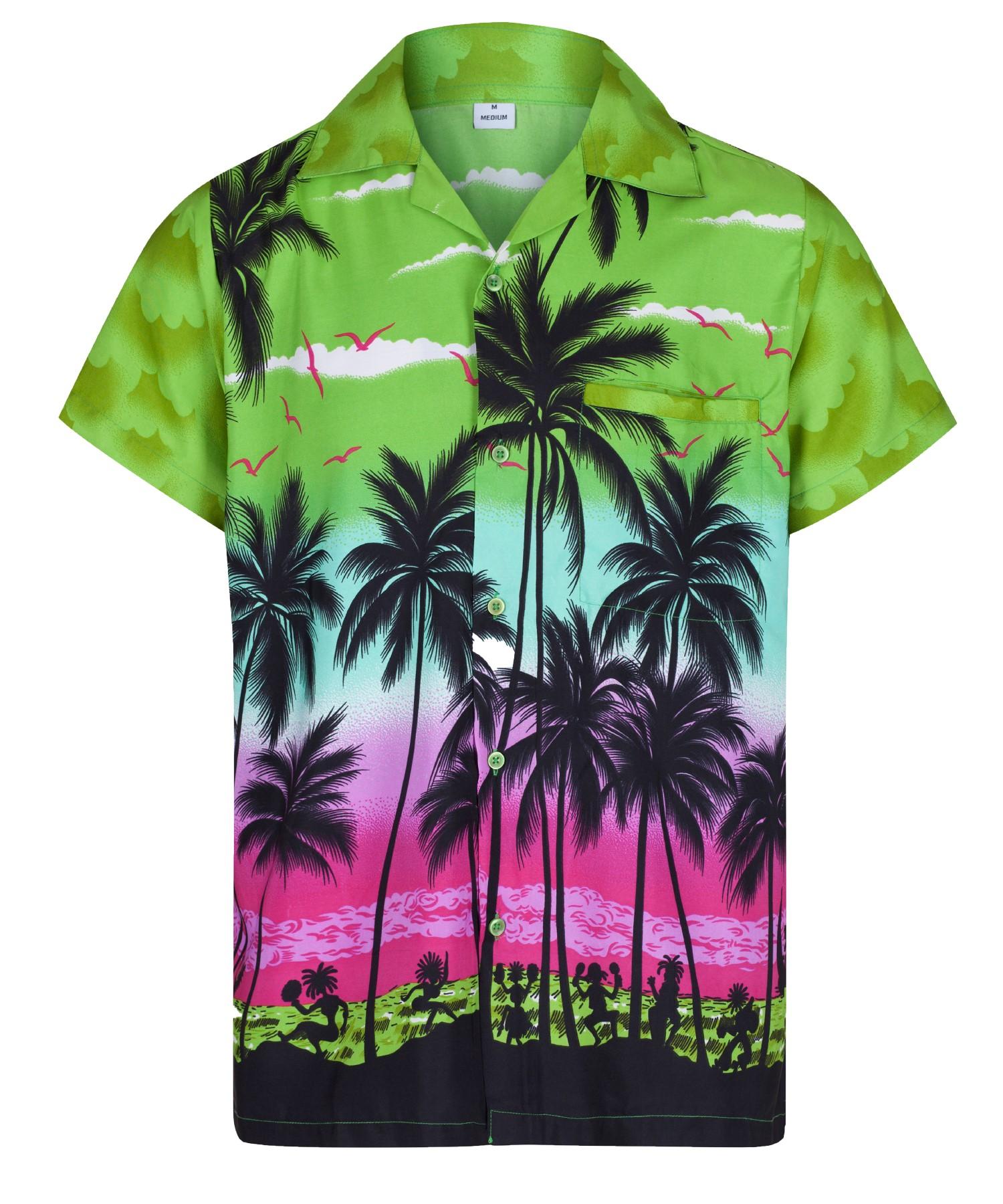 Hombre-Camisa-hawaiana-Aloha-Hawai-Tema-Fiesta-Camisa-Vacaciones-Playa-Disfraz