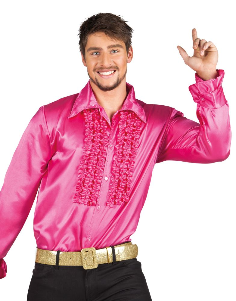 Adulto-Hombres-Disco-FRUNCIDO-Camisas-Con-Volantes-1970s-ANOS-70-Disfraz