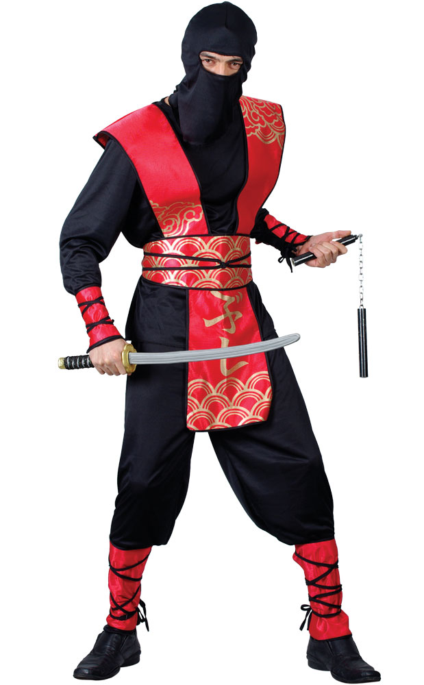 Adult-Ninja-Kung-Fu-Master-Samurai-Black-Red-  sc 1 st  eBay : adult ninja halloween costume  - Germanpascual.Com