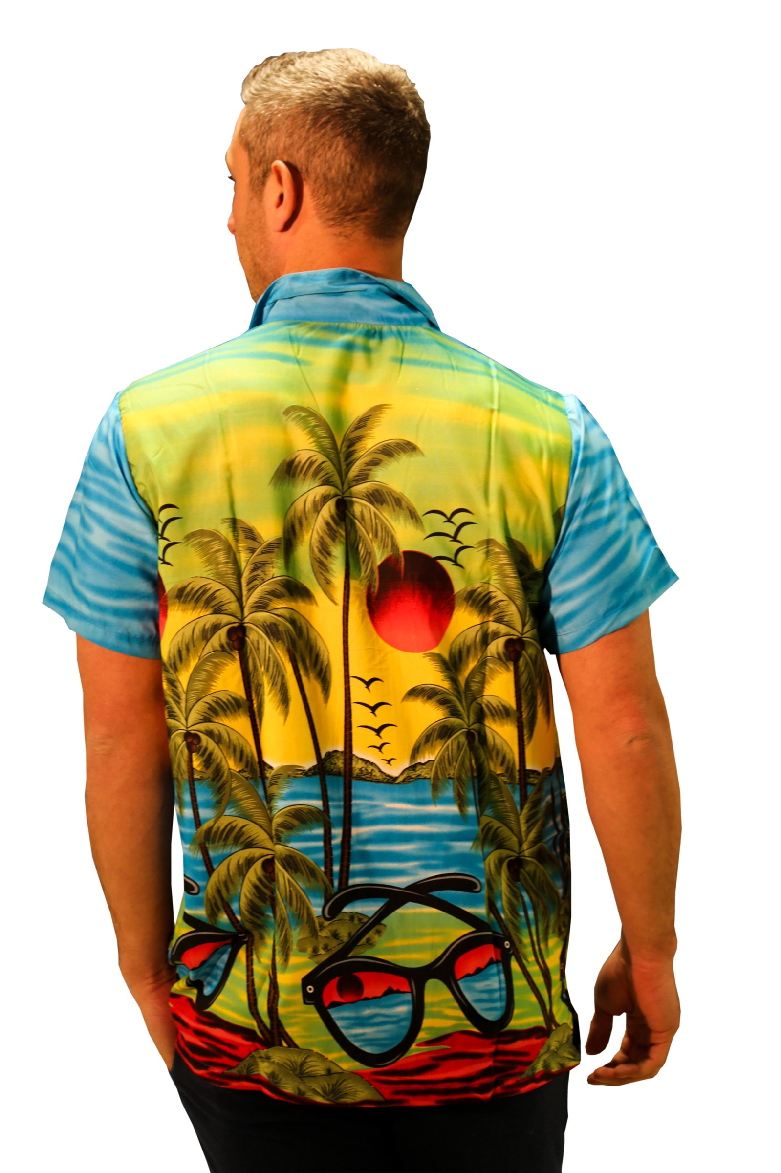 UOMO-CAMICIA-HAWAIANA-Occhiali-da-sole-manica-corta-CERVO-Spiaggia-Vacanza