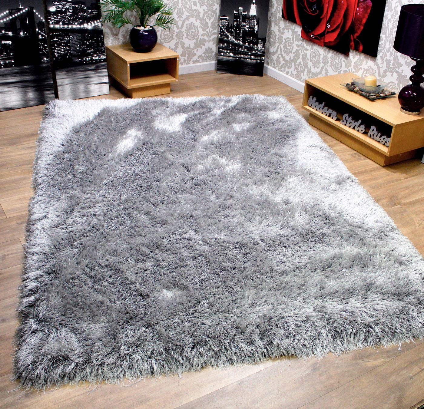 rrp + 9cm super plush mink beige & silver grey thick shaggy pile