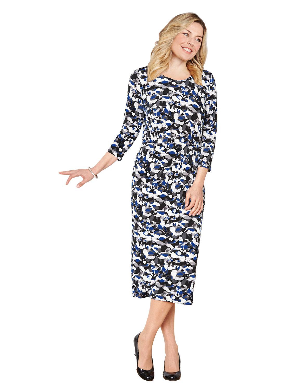 da-donna-a-fantasia-plissettato-abito-lunghezza-109cm