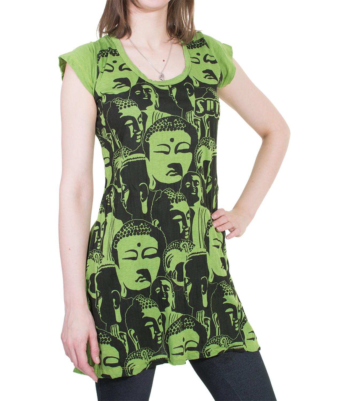 70er Retro Long Top Mini Dress Sure Psy Goa T Shirt With Buddha Minidress Green Picture 2 Of
