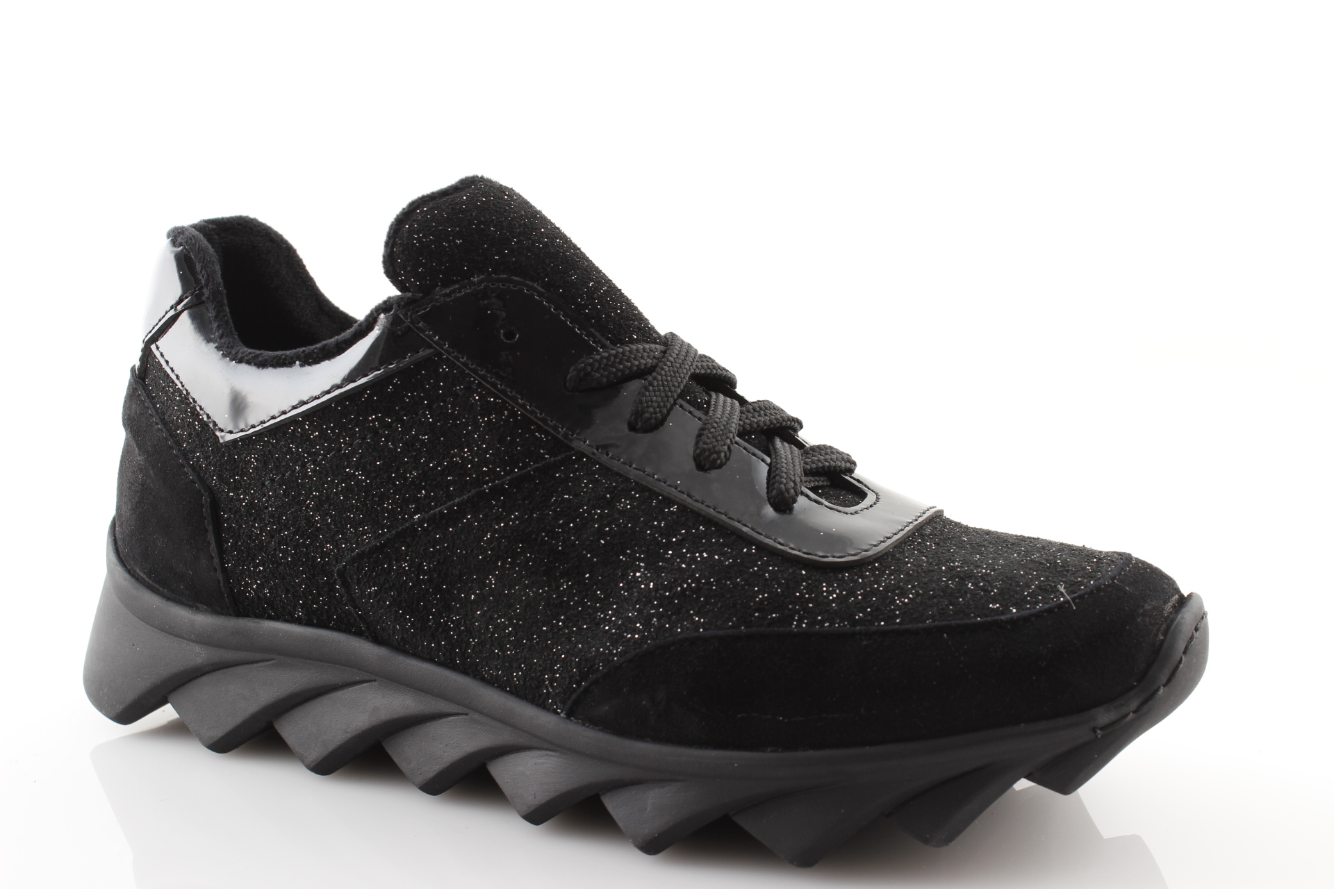 Détails sur Chaussures Femme Baskets Noir Hiver Made IN Italy Cuir avec Strass