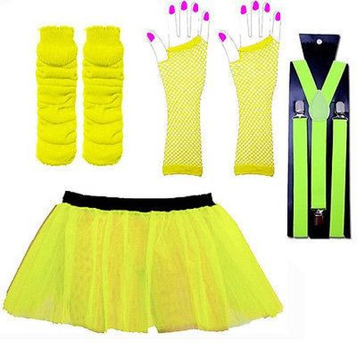 Gonna-Tutu-Neon-Set-amp-bretelle-costume-tutu-UV-addio-al-nubilato-Scaldamuscoli