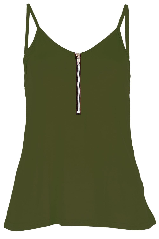 Mujer DELANTERO Cremallera de tirantes Tiras Camiseta vestido campana Swing Top