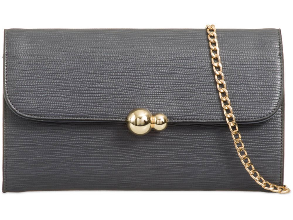 Damen Strukturiert Kunstleder Kette Band Detail Abiball Party Clutch Tasche