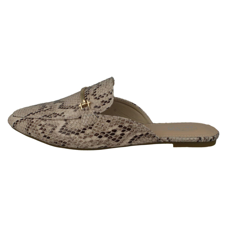 Detalles de Mujer Spot On Sintético Tela Deslizable Punta Cerrada Zapatos sin Talón