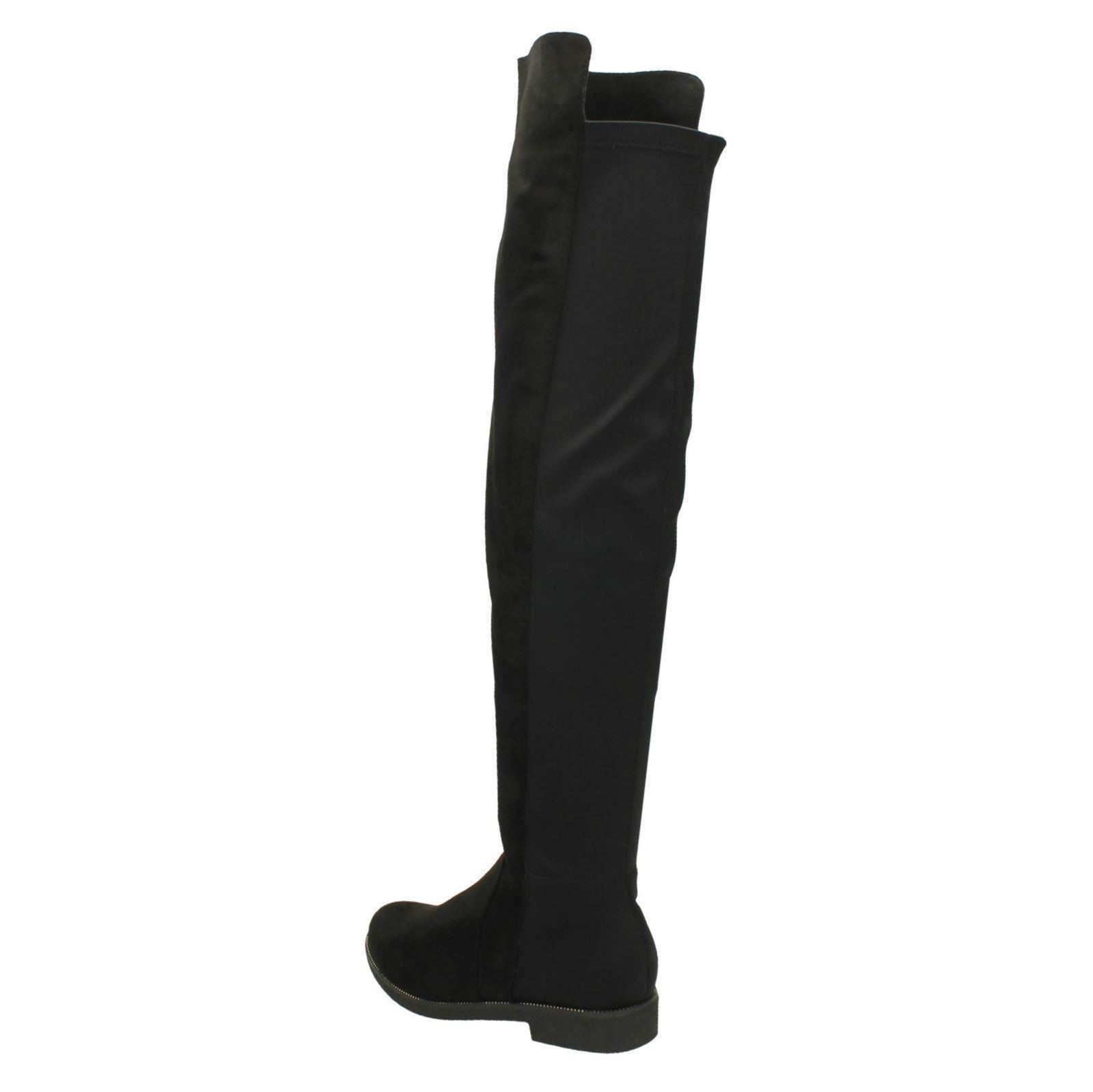 Frauen Spot On Mikrofaser Flacher Reißverschluss Kniehohe Stiefel