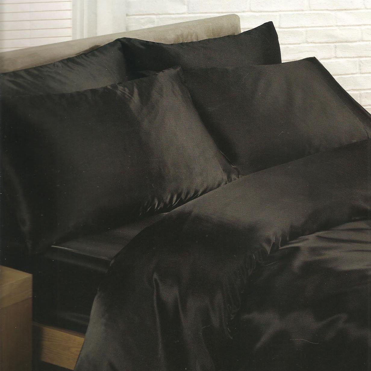literie satin ensembles housse de couette drap housse taie d 39 oreiller ebay. Black Bedroom Furniture Sets. Home Design Ideas