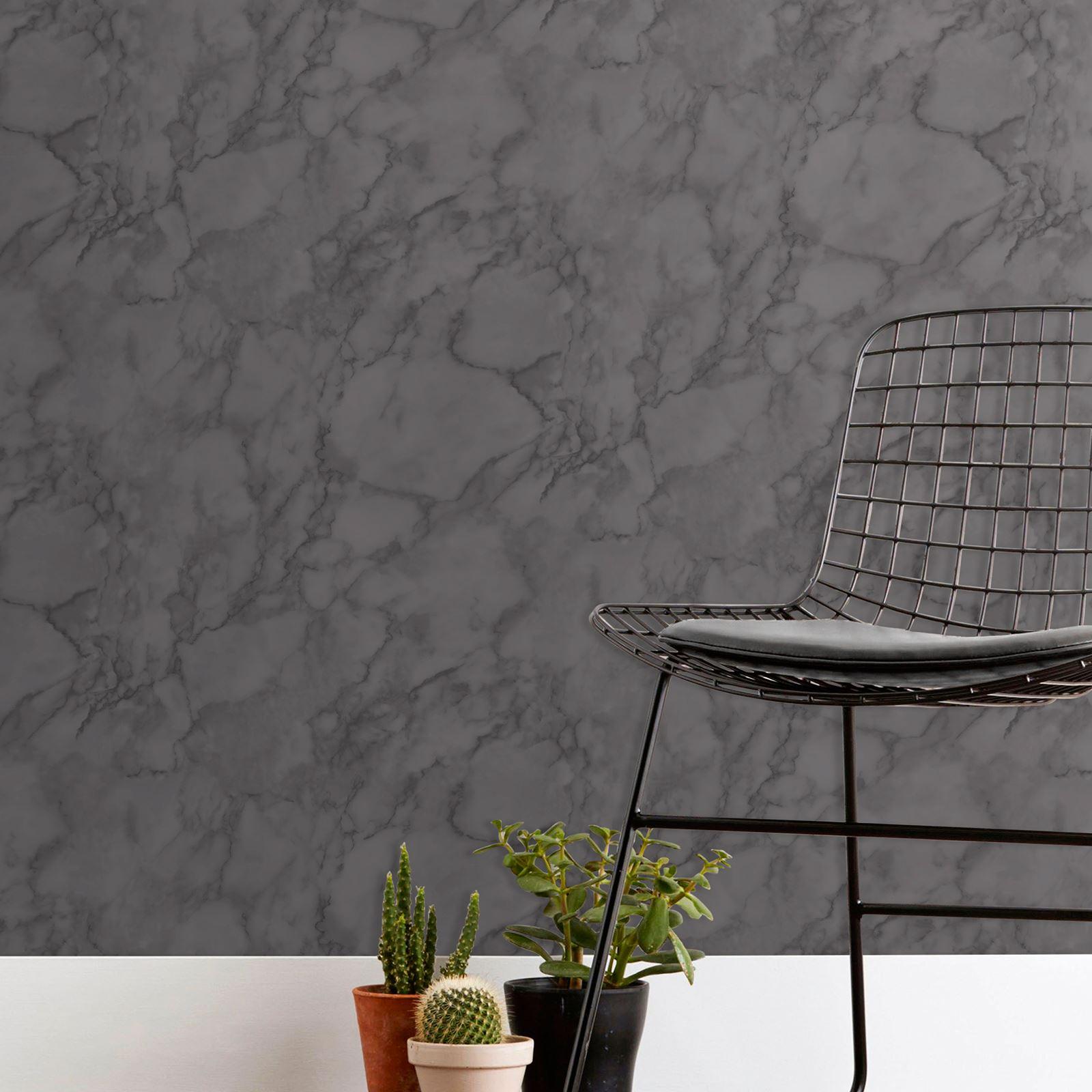 Fine-Decor-Marblesque-Liso-Marmol-Papel-Pintado-Rosa-Blanco-Gris-Carbon