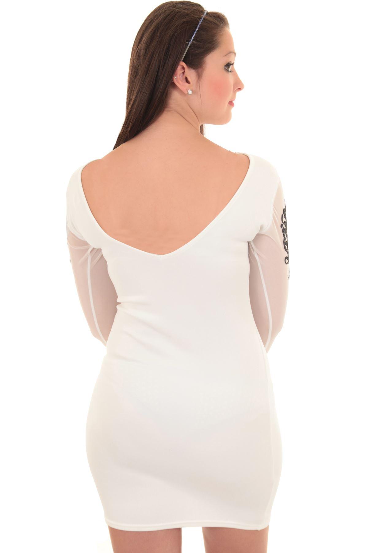 NEU Damen Silber tiefer Rücken langärmlig enganliegend Party Minikleid
