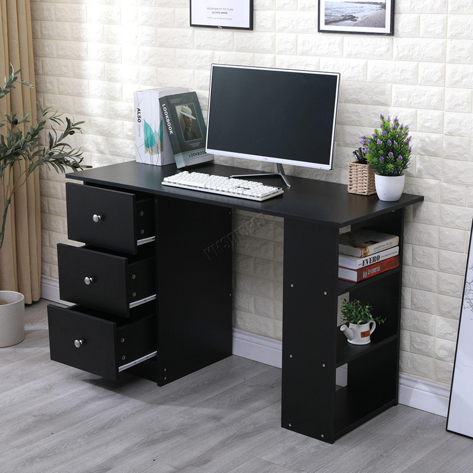 Foxhunter ordenador escritorio con 3 cajones 3 estanter as pc mesa hogar oficina ebay - Mesa escritorio con cajones ...