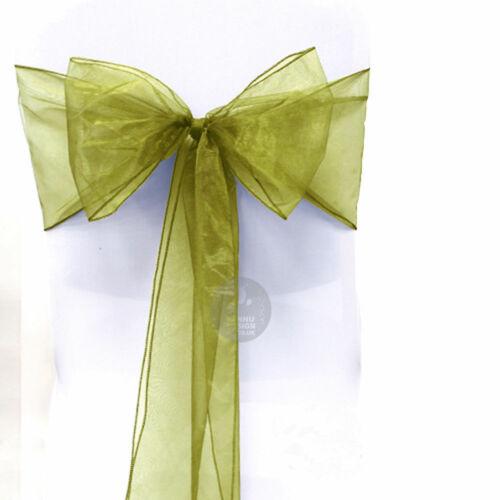 In-Organza-Puro-Tessuto-Poltrona-Fiocchi-Runner-Da-Tavolo-Sash-Festa-Matrimonio
