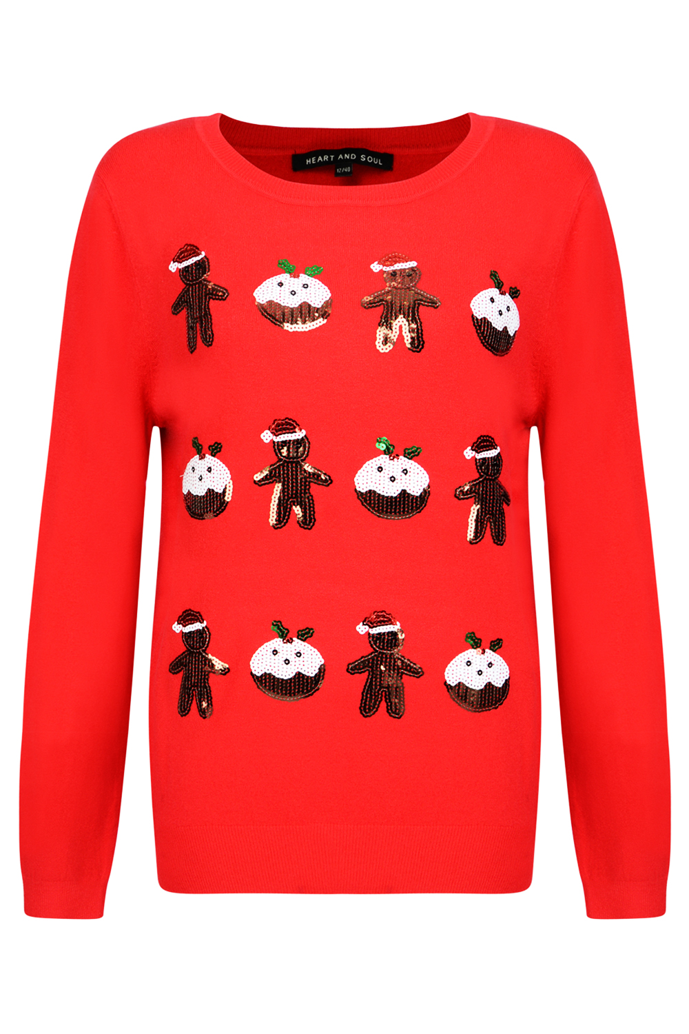 Heart and Seele Damen Paillette Ingwer Pudding Weihnachts Pullover ...