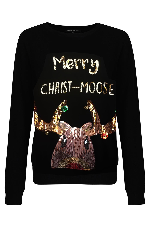 Herz und Seele Damen Frohe Christ-Moose Festlicher Pullover ...