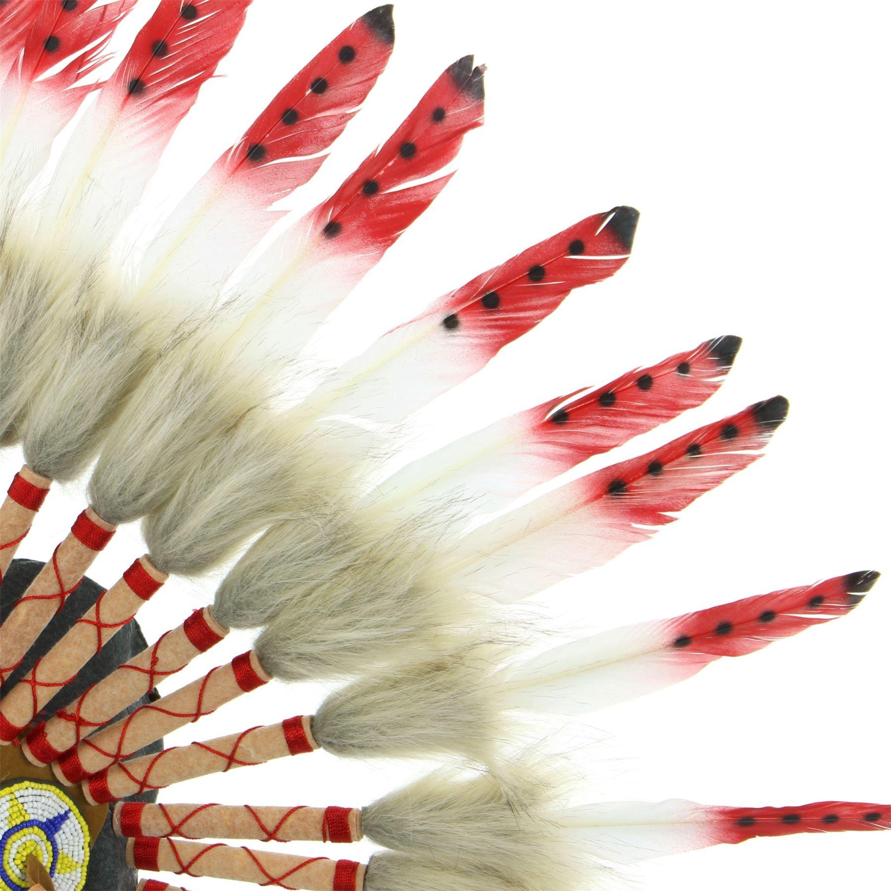 Copricapo Indiano Capo Piume Cappello Nativi Americani Gringo Bianco Rosso Nero