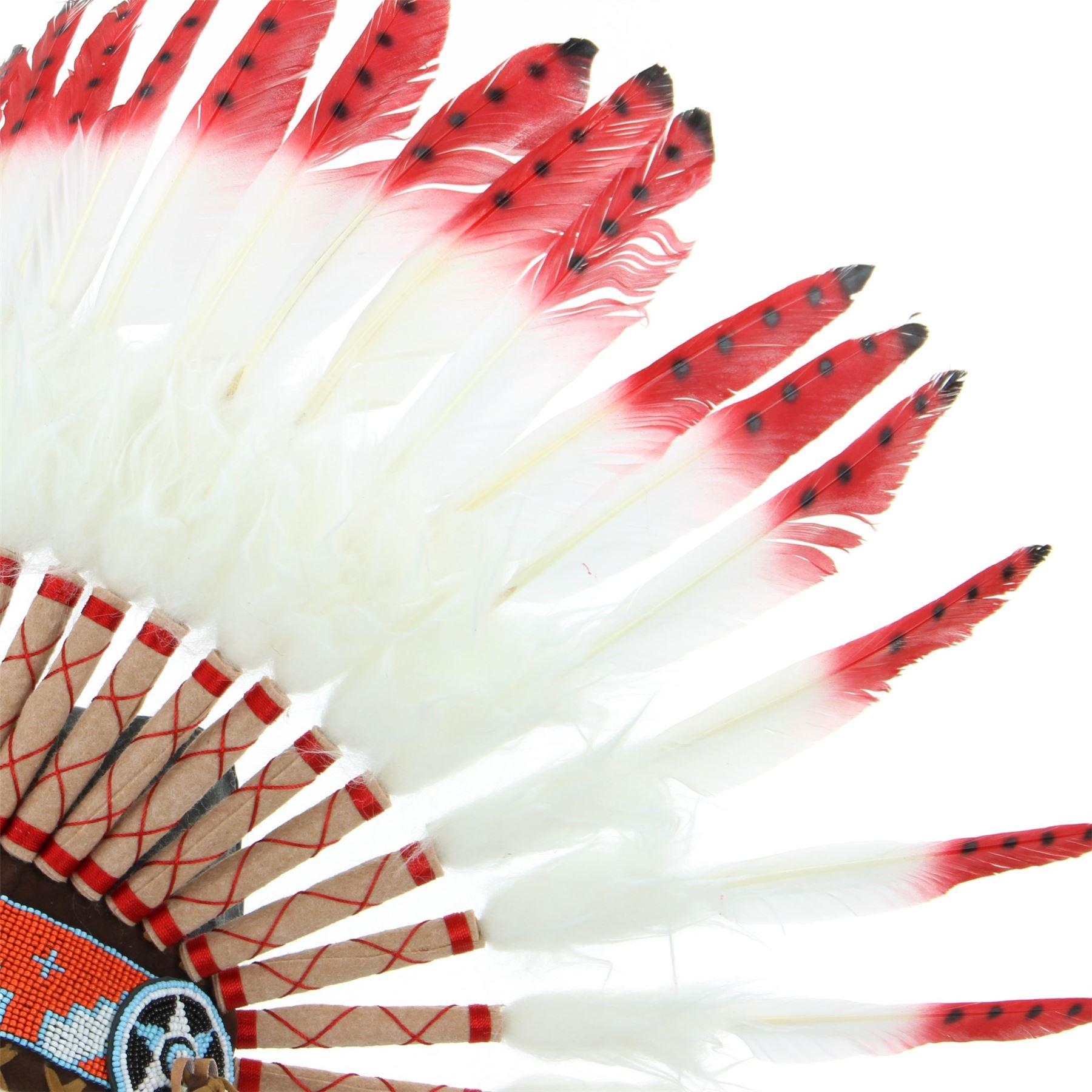 e461349f69a09 Indio tocado jefe plumas sombrero nativo americano Gringo blanco rojo  negro. Acerca de este producto. Imagen 1 de 3  Imagen 2 de 3  Imagen 3 de 3