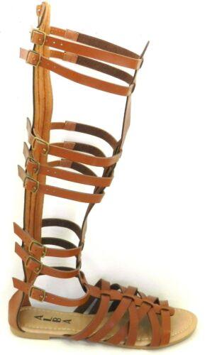 Donna-Al-Ginocchio-Fibbia-con-Spalline-Gabbia-Taglio-Piatto-Gladiatore-Sandali miniatura 14