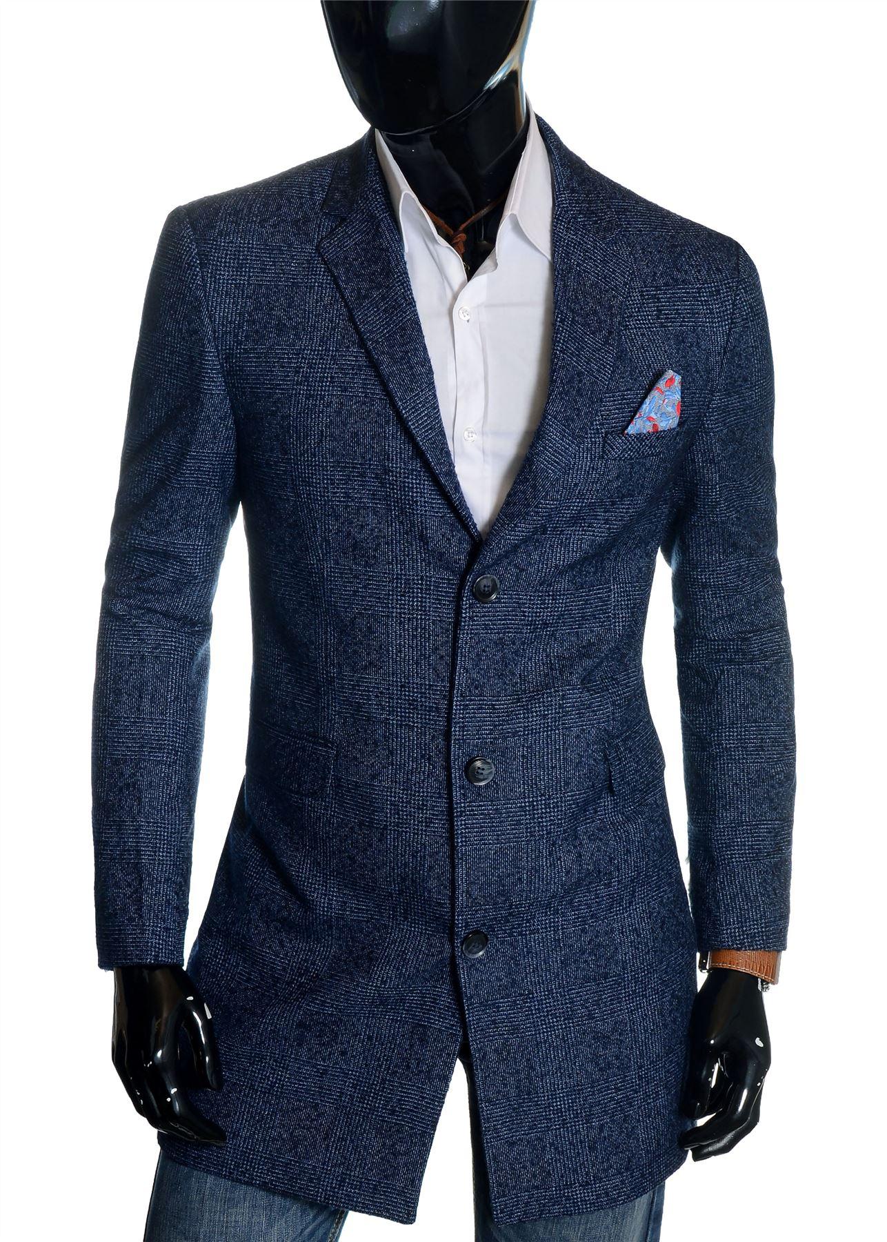 0237b836c Détails sur Homme à Carreaux Manteau 3/4 Long Tweed Laine Cachemire Trendy  Habillé Hiver