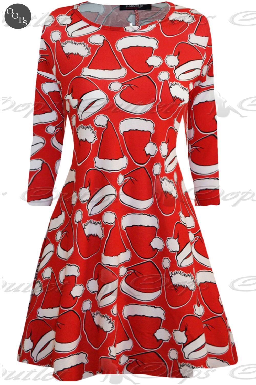 Womens christmas swing dress ladies xmas santa rudolph for Robes de noel uk