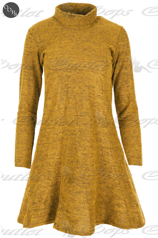 femme tricot gros col polo haut col roul pull dames swing vas franki robe ebay. Black Bedroom Furniture Sets. Home Design Ideas